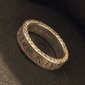 """Chrome Hearts """"Fuck You"""" silver ring with diamonds"""